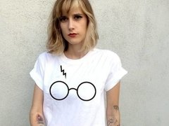 T Shirt Tumblr Camiseta feminina Harry Potter Branca de Algodão