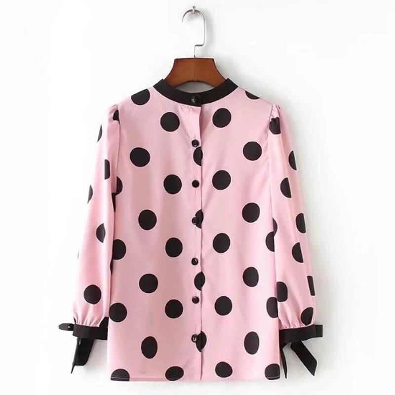 1fac095dee Blusa social rosa feminina com bolinhas pretas