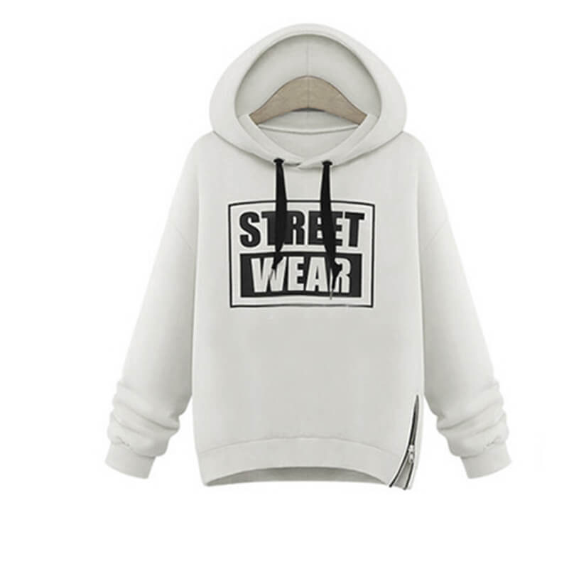 Casaco Warm Letters Pullover Street Wear na cor Branca