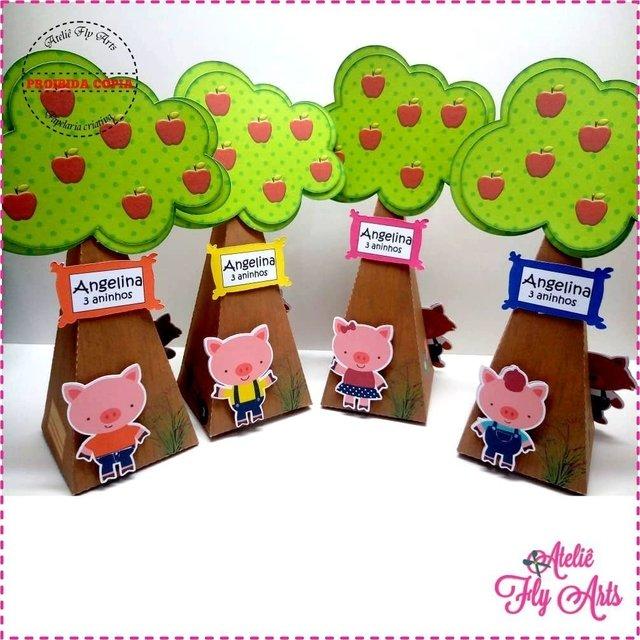 10 Caixa Cone Arvore Tres Porquinhos E A Porquinha Rosa