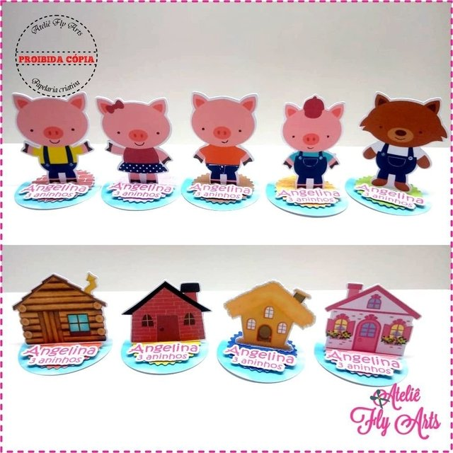 10 Aplique 3d Tres Porquinhos E A Porquinha Rosa