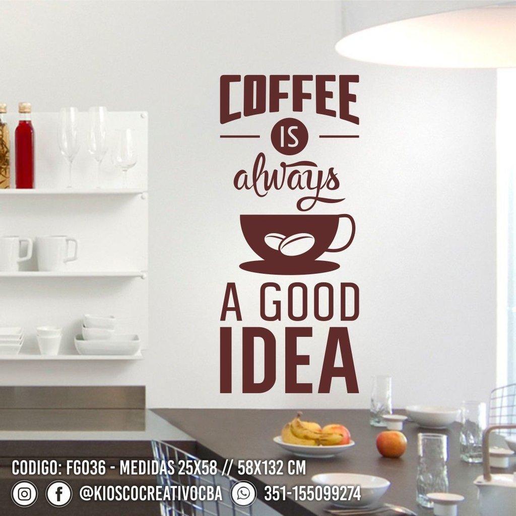 Vinilo Decorativo Frase Cocina Coffee