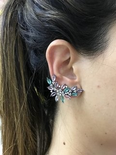 brinco ear cuff navetes cristais coloridos na internet