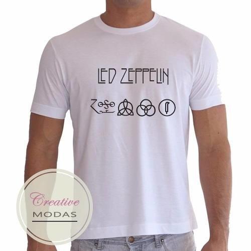 1bae427c3 Camiseta Camisa Banda De Rock Led Zeppelin Símbolos