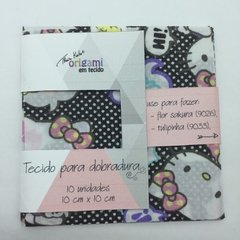 Kit Tecido Preparado 10 x 10 Hello Kitty e Floral