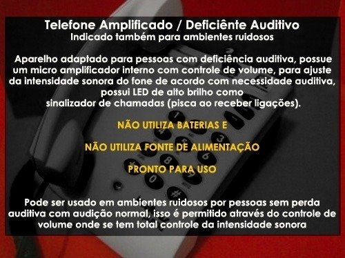 Telefone Intelbras c/ Fio Amplificado Para Deficiente Auditivo - Teleni