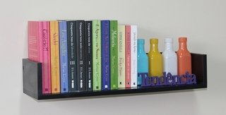 Prateleira em U para Livros - MDF Preto...