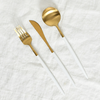 Set x 3 Utensilios White & Gold 101931