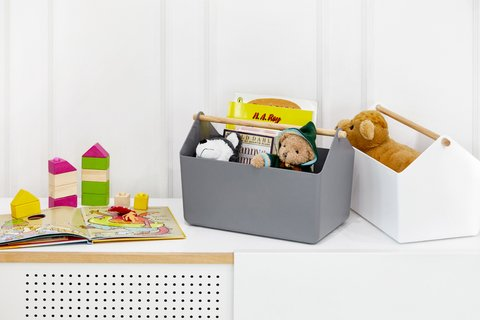 Organizador WOODEN HANDLE BASKET grafito 271277