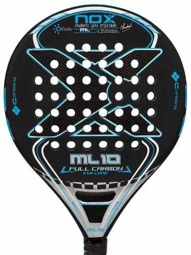 Paleta Padel Nox Ml 10 Eva Full Carbon + Funda + Grip + Prot