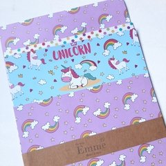 Papeles decorados bifaz UNICORNIOS SET x 4