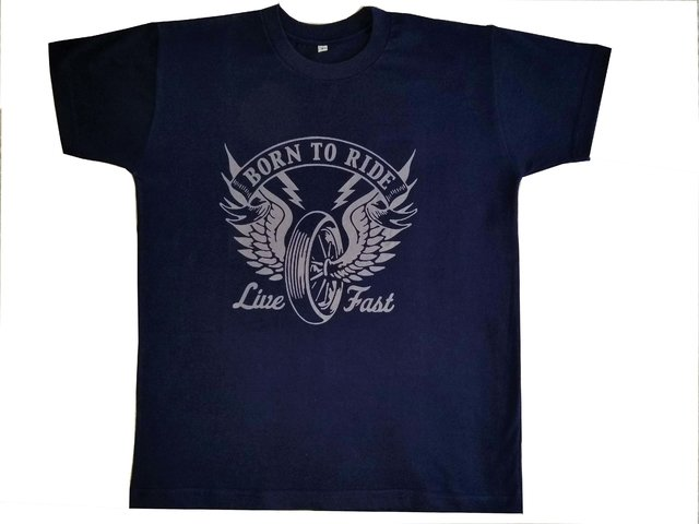 Remera de Moto Born to Ride Azul