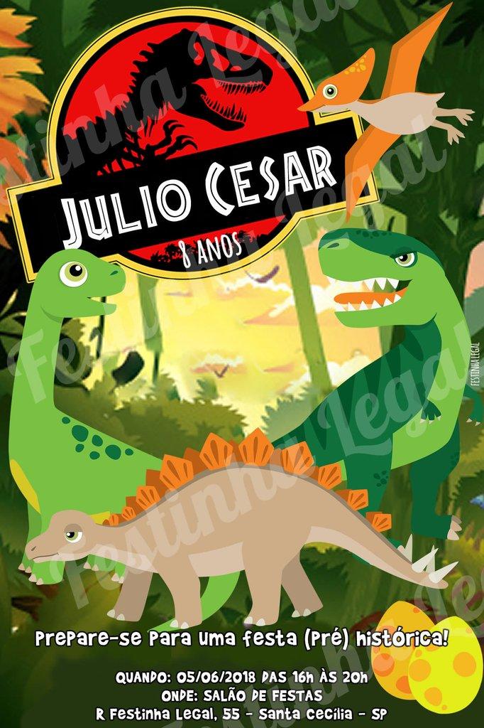 Convite Virtual Dinossauro Arte Digital Para Whatsapp