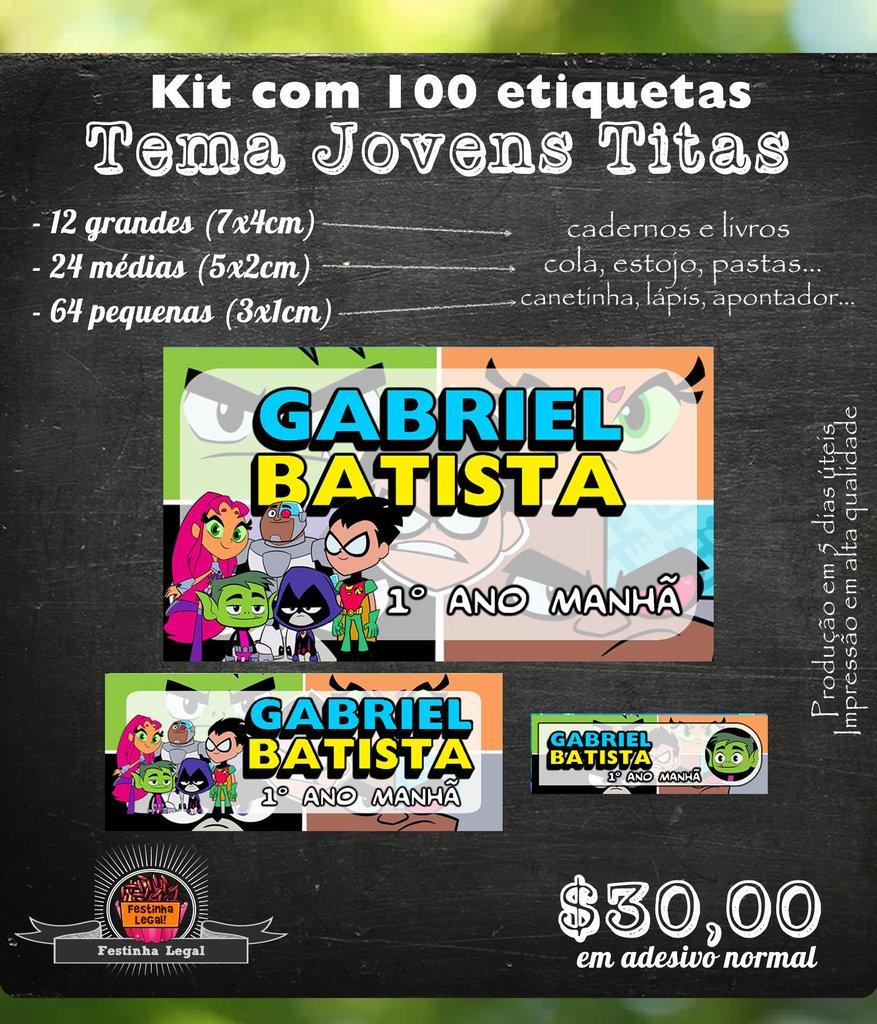 Kit Adesivos Etiquetas Para Material Escolar Jovens Titans