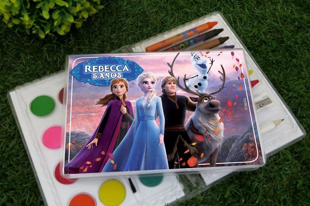 15 Estojos De Pintura Lembrancinha Frozen 2 Com 31 Itens Completo