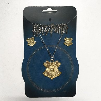 Pack Harry Potter Collar + Aritos Escudo Hogwarts