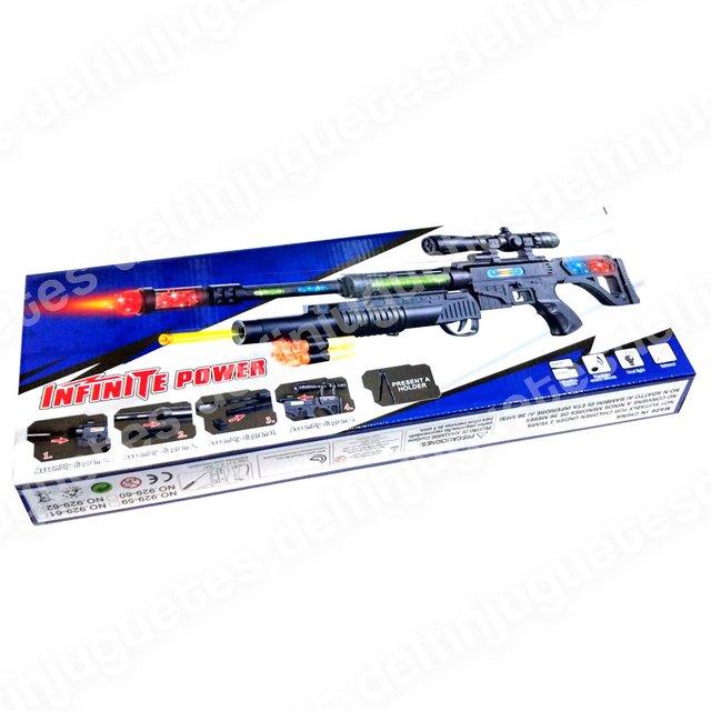 Ametralladora Juguete Laser Goma Lanza Espuma Mira Dardos Luz Sonido 5RAjL4