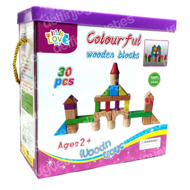 Caja Madera 30 Piezas Bloques Colores De Y7g6bfvy