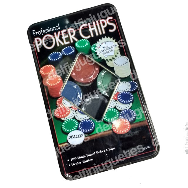 Poker Chips 100 Fichas De Colores 4 Gramos  Dealer En Lata