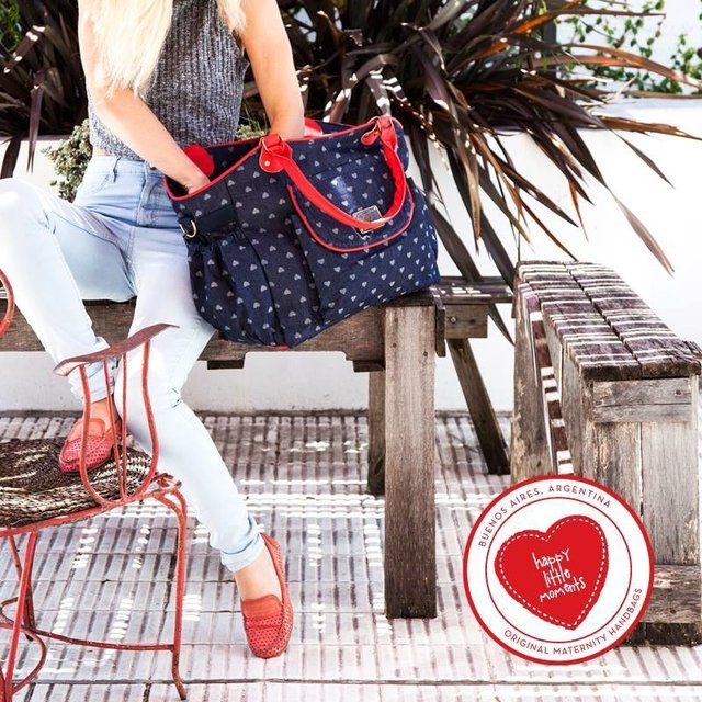 Bolso Michelle Denim + Rojo - Happy Little Moments
