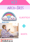 KIT ARCO -ÍRIS =MANTA KIDS FLEECE +ALMOFADA COM ESTAMPA ARC-ÍRIS DA LEPPER