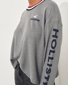 Buzo french HOLLISTER waffle gris - comprar online