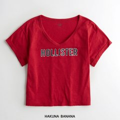 Remera HOLLISTER escote V roja