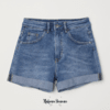 Denim short azul tiro alto H&M