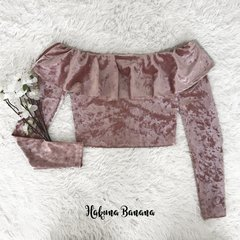 Crop top terciopelo rosa  HOLLY en internet
