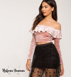Crop top terciopelo rosa  HOLLY - comprar online