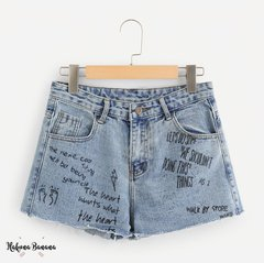Denim short GRAFFITY tiro alto