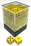 CHESSEX OPAQUE YELLOW/BLACK 12MM D6 X36