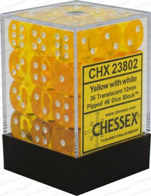 CHESSEX TRANSLUCENT YELLOW/WHITE 12MM D6 X36