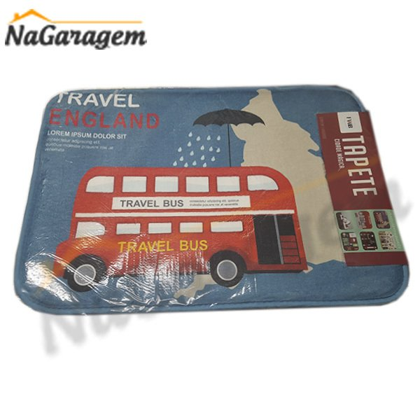 Tapete 39X59CM Antiderrapante Travel Bus