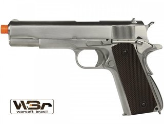 PISTOLA DE AIRSOFT WE 1911 MATTE CHROME CHECKER GRIP