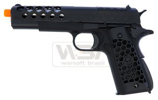 PISTOLA DE AIRSOFT WE 1911 HEX CUT BLK