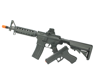 KIT DE AIRSOFT SPRING VIGOR RIFLE M4A1 CQB RIS 8907 A + PISTOLA V307 6MM