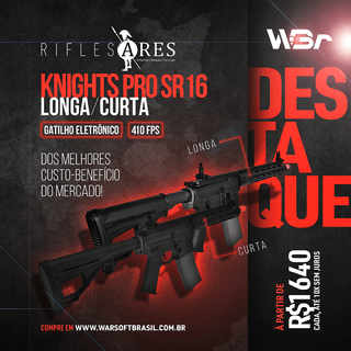 RIFLE DE AIRSOFT AEG ARES KNIGHTS PRO SR16 LONGA