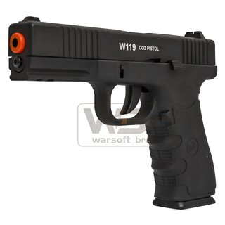 Pistola de Airsoft a Gás GBB CO2 W119 Glock Slide Metal C/ Blowback