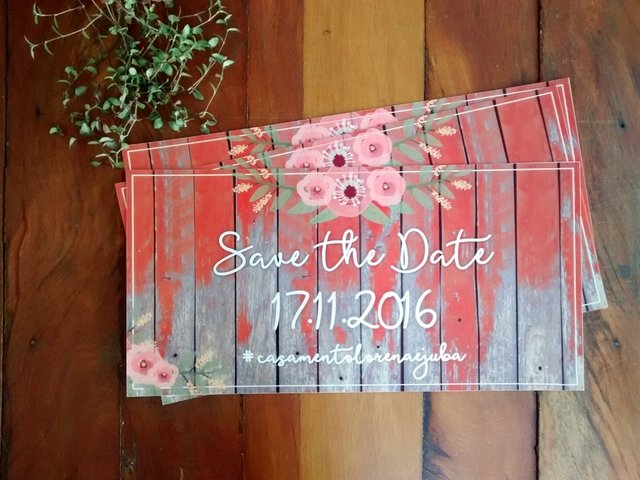Plaquinha Save the Date com hashtag do casamento - comprar online