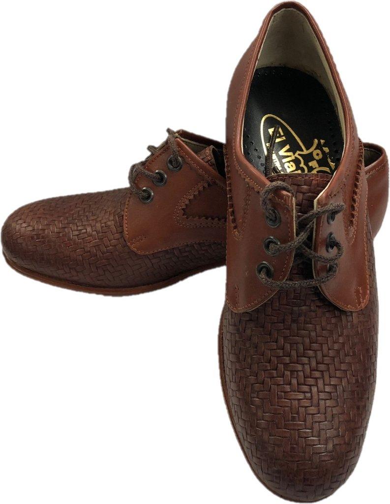 67b1e1ded0c60 Zapato de cuero artesanal trenzado interior forrado suela de madera con taco  de goma