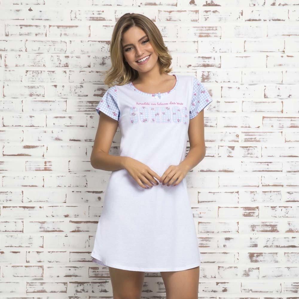 ca33f21d5c Camisao algodao feminino manga colecao sonho florzinha
