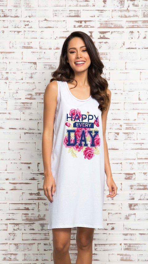 Camisao algodao feminino regata happy every day - comprar online