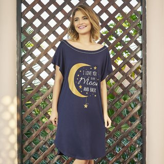 Camisão feminino i love you moon viscose decote redondo