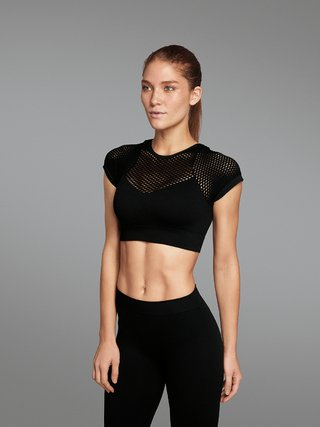 Top cropped fitness arrastâo manga s/bojo s/costura lupo