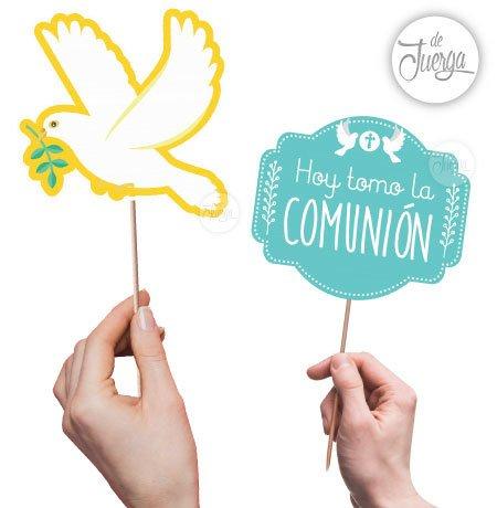 Photo Booth Comunión Imprimible Frases Props Y Objetos Carteles Celeste Y Amarillo