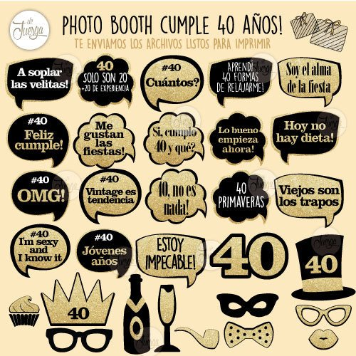 Photo Booth 40 Años Imprimible Cumple Props Glitter