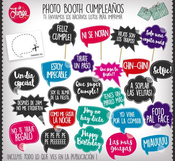 Photo Booth Cumpleaños Imprimible Frases Props