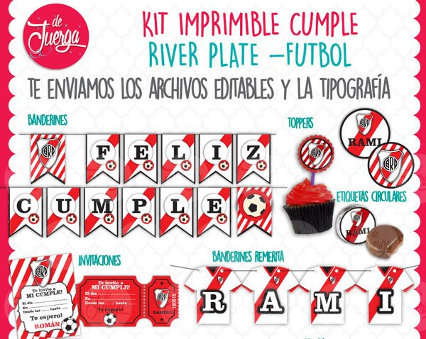Kit Imprimible River Plate Cumple Candy Nombre Editable