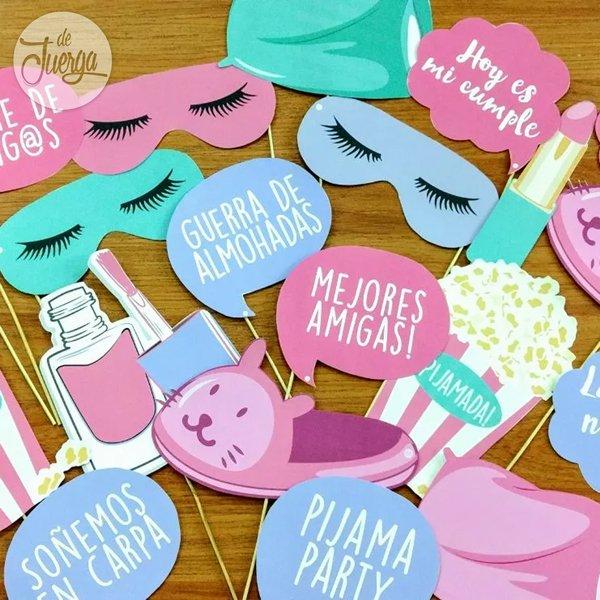 b4943a220 Pijamada Photo Booth Pijama Party Props Cumple